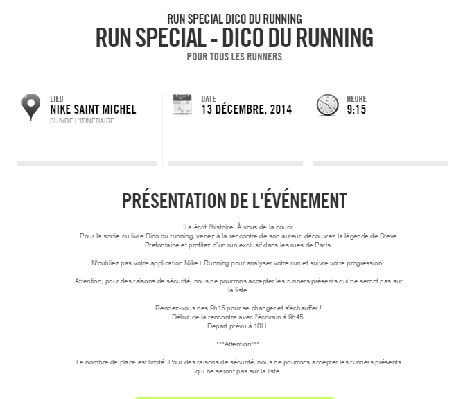 Site enregistrement evenement Nike