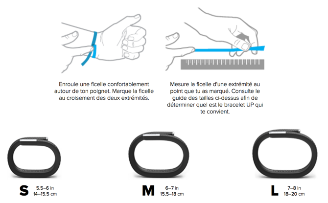 Taille bracelet jawbone up